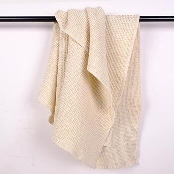 Offwhite waffle - linen bath towel