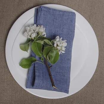 Blue - napkin -  washed