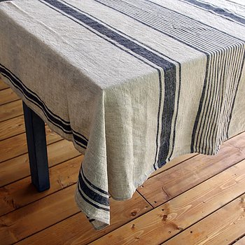 Black natur striped - tablecloth