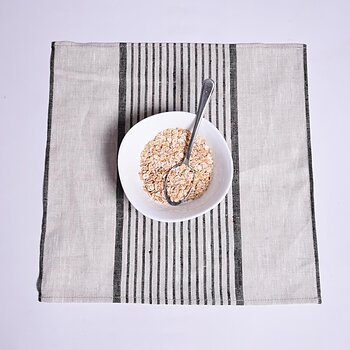 Natur black striped - napkin -  washed