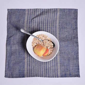 Blue grey striped - napkin -  washed