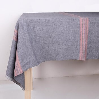 Grey with red stripes - tablecloth