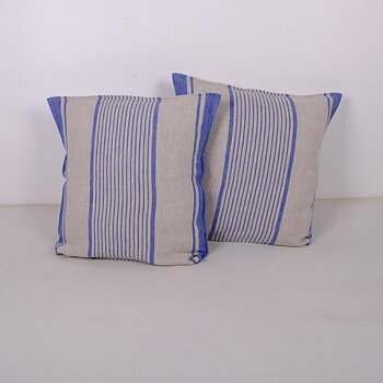 Blue Striped  - Village - linen pillowcase