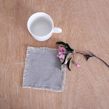 Natural white - Double sided linen coaster