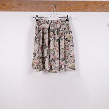 Natural floral - linen skirt