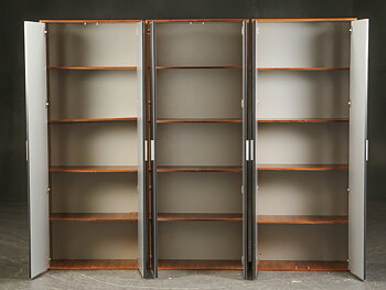 Walnut storage cabinet with aluminum doors
