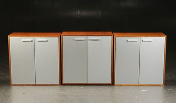Walnut cabinet with aluminum doors - 80 cm