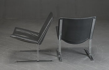 Vintage armchairs in black leather & chrome - 1970s
