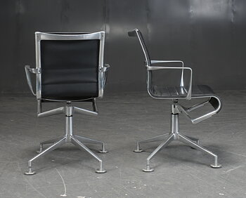 Office chair / conference chair, Alias 437 Meetingframe - Black leather