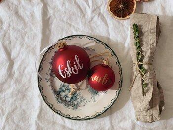 Personlig julkula - Klarröd matt