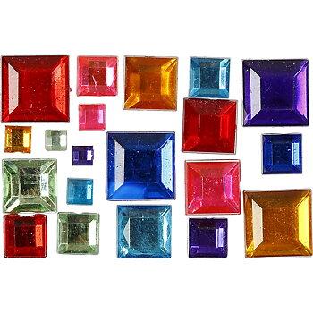 Rhinestones, stl. 4-10 mm, 15 g, mixade färger