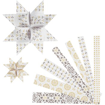 Stjärnstrimlor, B: 15+25 mm, dia. 6,5+11,5 cm, 48 strimlor, vit, guld