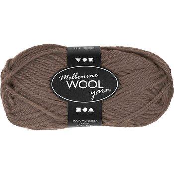 Melbourne ullgarn, L: 92 m, 50 g, grå brun