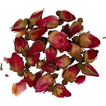 Torkade blommor, mörkrosa, Rosenknoppar, L: 1 - 2 cm, dia. 0,6 - 1 cm, 15 g, 1 förp.