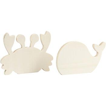 Havsdjur, Krabba och val, H: 9,5-12 cm, B: 16 cm, tjocklek 1,2 cm, 2 st./ 1 förp.