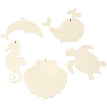 Hängande havsdjur, Sjöhäst, sköldpadda, delfin, mussla och val, H: 5-10 cm, hålstl. 3 mm, tjocklek 2 mm, 5 st./ 1 förp.