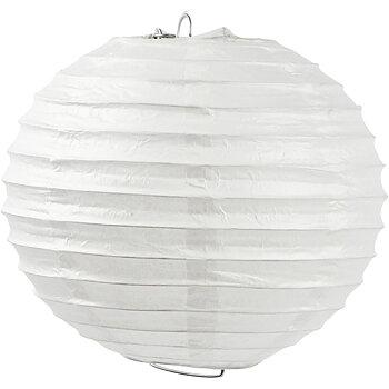Papperslampa, vit, Rund, dia. 35 cm, 1 st.