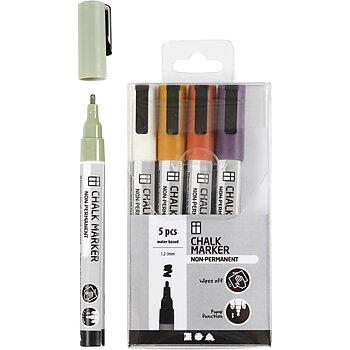 Chalk markers, dova färger, spets 1,2-3 mm, 5 st./ 1 förp.