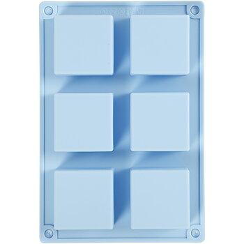 Silikonform, ljusblå, H: 2,5 cm, L: 21,5 cm, B: 14,5 cm, hålstl. 5 x 5  cm, 60 ml, 1 st.
