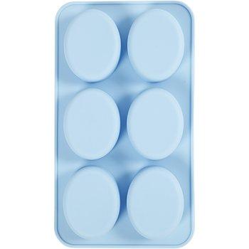 Silikonform, ljusblå, H: 2,5 cm, L: 28 cm, B: 16 cm, hålstl. 7,8 x 6,1 cm, 100 ml, 1 st.