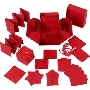 Exploding Box, röd, stl. 7x7x7,5+12x12x12 cm, 1 st.