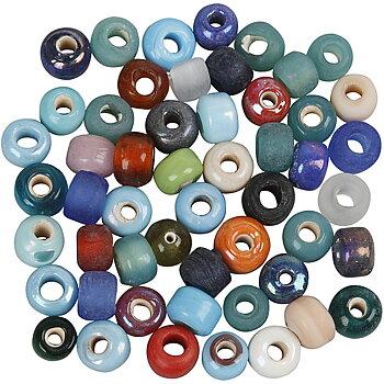 Glaspärlemix, dia. 9 mm, hålstl. 2,5-3 mm, 500 g, mixade färger