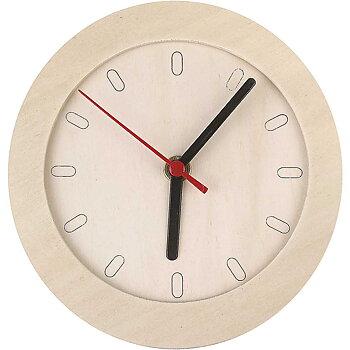 Klocka med träram, dia. 15 cm, 1 st., plywood
