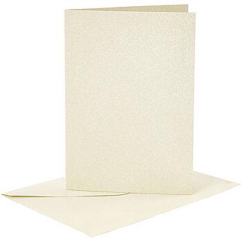 Kort och kuvert, kortstl. 10,5x15 cm, kuvertstl. 11,5x16,5 cm, 4 set, råvit