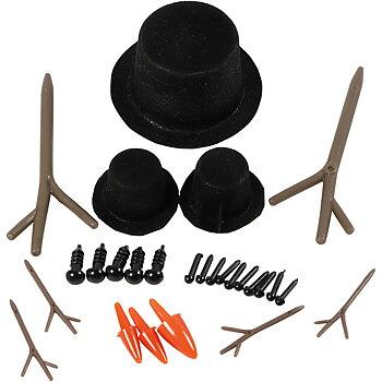 Tillbehör till snögubbe, stl. 2,3-7 cm, 3 set