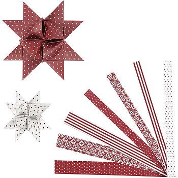 Stjärnstrimlor, B: 15+25 mm, dia. 6,5+11,5 cm, 60 strimlor, vit, röd