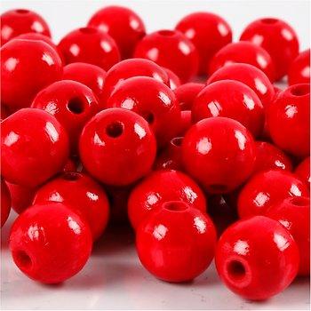 Träpärlor, dia. 12 mm, hålstl. 3 mm, 22 g, röd