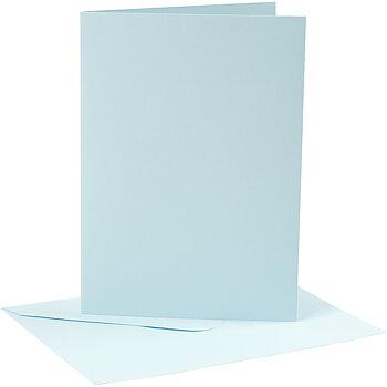Kort och kuvert, kortstl. 12,7x17,8 cm, 220 g, 4 set, ljusblå