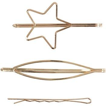 Hårspännen, B: 32 mm, L: 70 mm, 3 st., förgylld
