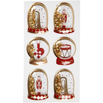 Shaker stickers, stl. 49x32+45x36 mm, 6 st., guld