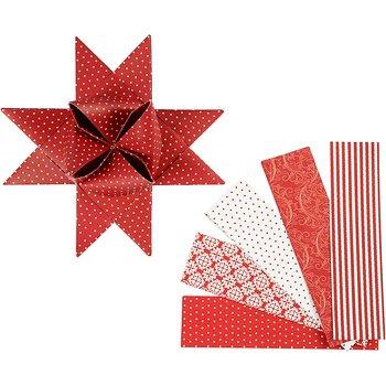 Stjärnstrimlor, B: 40 mm, L: 100 cm, 40 strimlor, vit, röd
