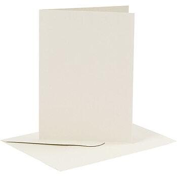 Kort och kuvert, kortstl. 10,5x15 cm, kuvertstl. 11,5x16,5 cm, 6 set, råvit