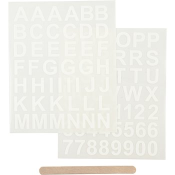 Rub-on stickers, 12,2x15,3 cm, 1 förp., vit