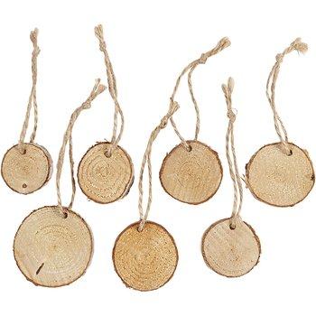 Träskivor med snöre, dia. 35-45 mm, tjocklek 7 mm, 7 st.