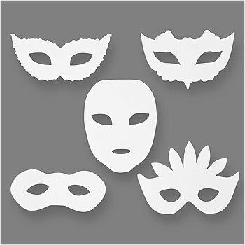 Teatermasker, H: 8,5-19 cm, B: 15-20,5 cm, 16 st., vit