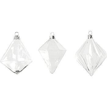 Glaskulor, dia. 7+7,9+8 cm, H: 9,6+9,8+10,5 cm, 3 st., transparent