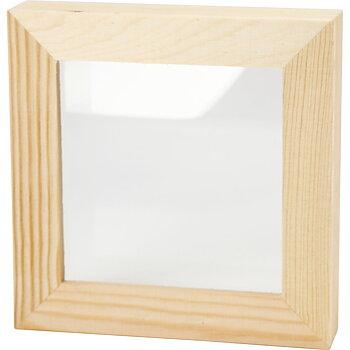 3D ram, stl. 12,3x12,3 cm, djup 2,5 cm, 1 st., furu