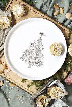 Träbricka, rund: Fröjdas vart sinne julen är inne