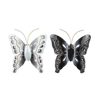 Fjäril i hamrad plåt Vit 24x24