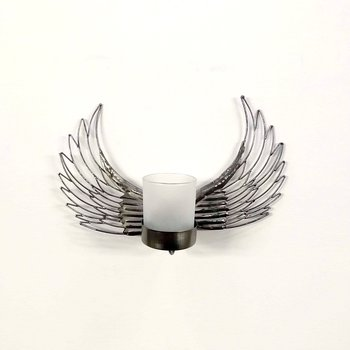 Forged candle holder wall, Wings approx. 20 cm