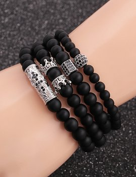 Black Frosted Stone Bracelet Set
