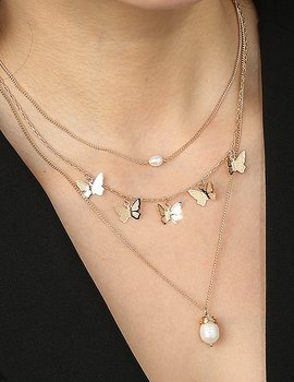 Halsband- Pearl & Butterfly Dream