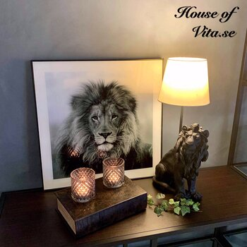Lamp Lion Poly Black 25x32 / 42cm