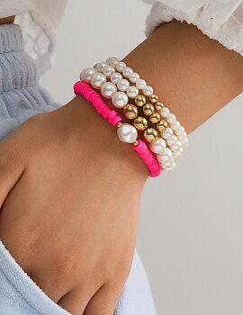 Fashion Golden Pearl And Pink Bracelet