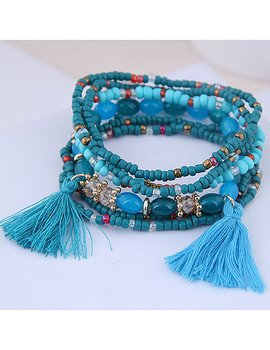 Fashion Blue  Tassel Multi-layer Bracelet
