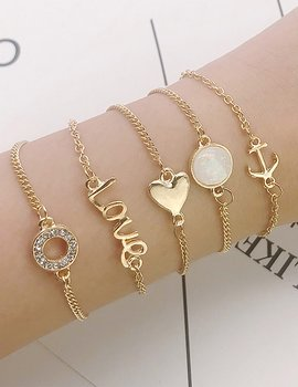 Fashion Anchor And Love Bracelet